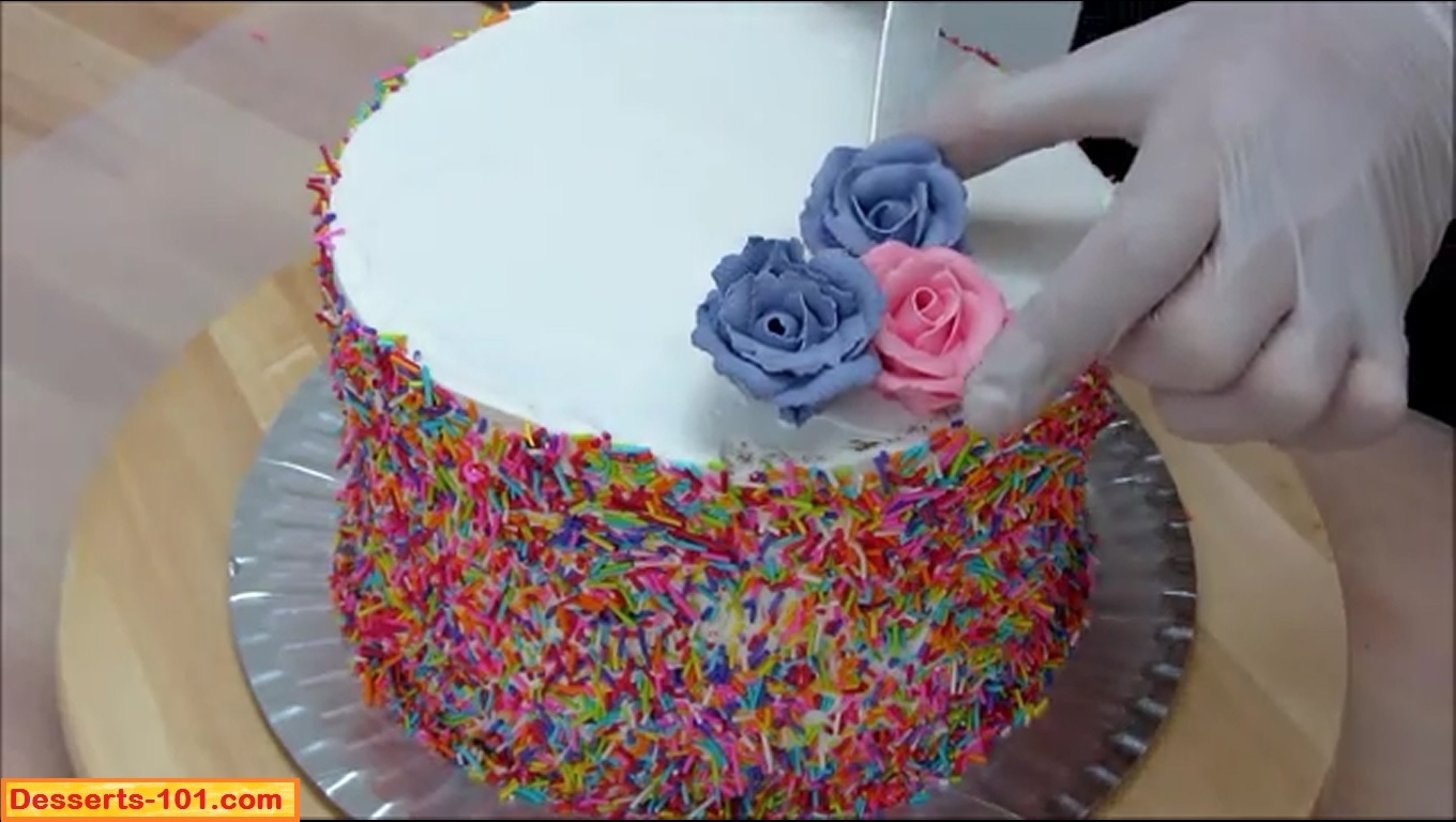 Decorating With Sprinkles How To Decorate A Cake With Sprinkles And Buttercream Roses