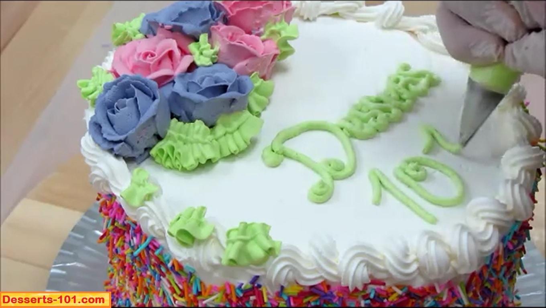 Writing on cake.