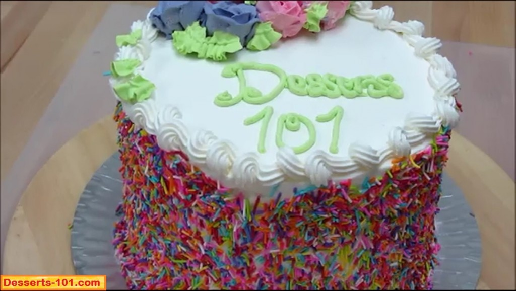 Cake with sprinkles and roses