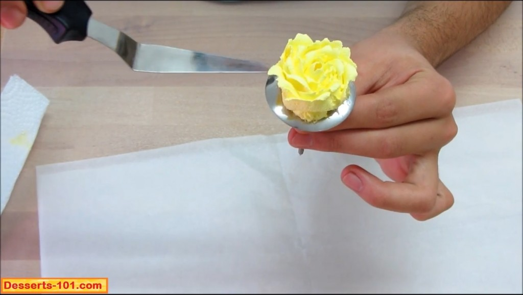Transfering buttercream rose from flower nail