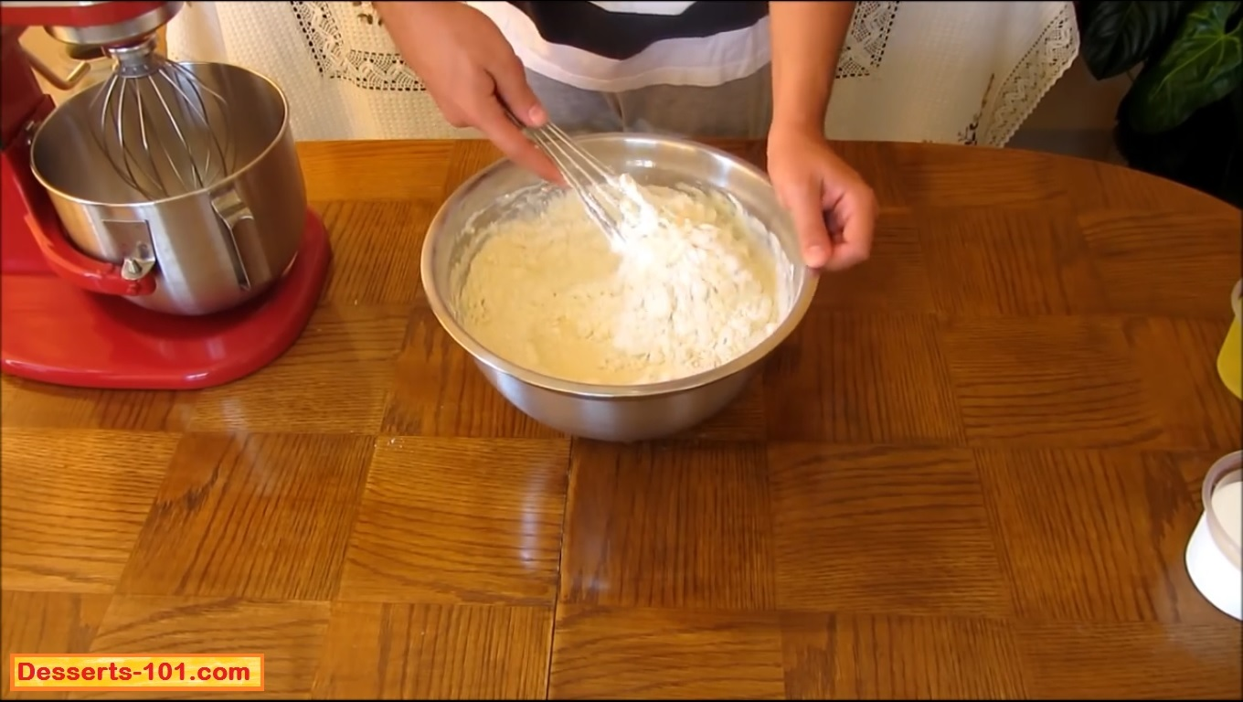 Gently fold the corn starch and flour into the cheese mixture.