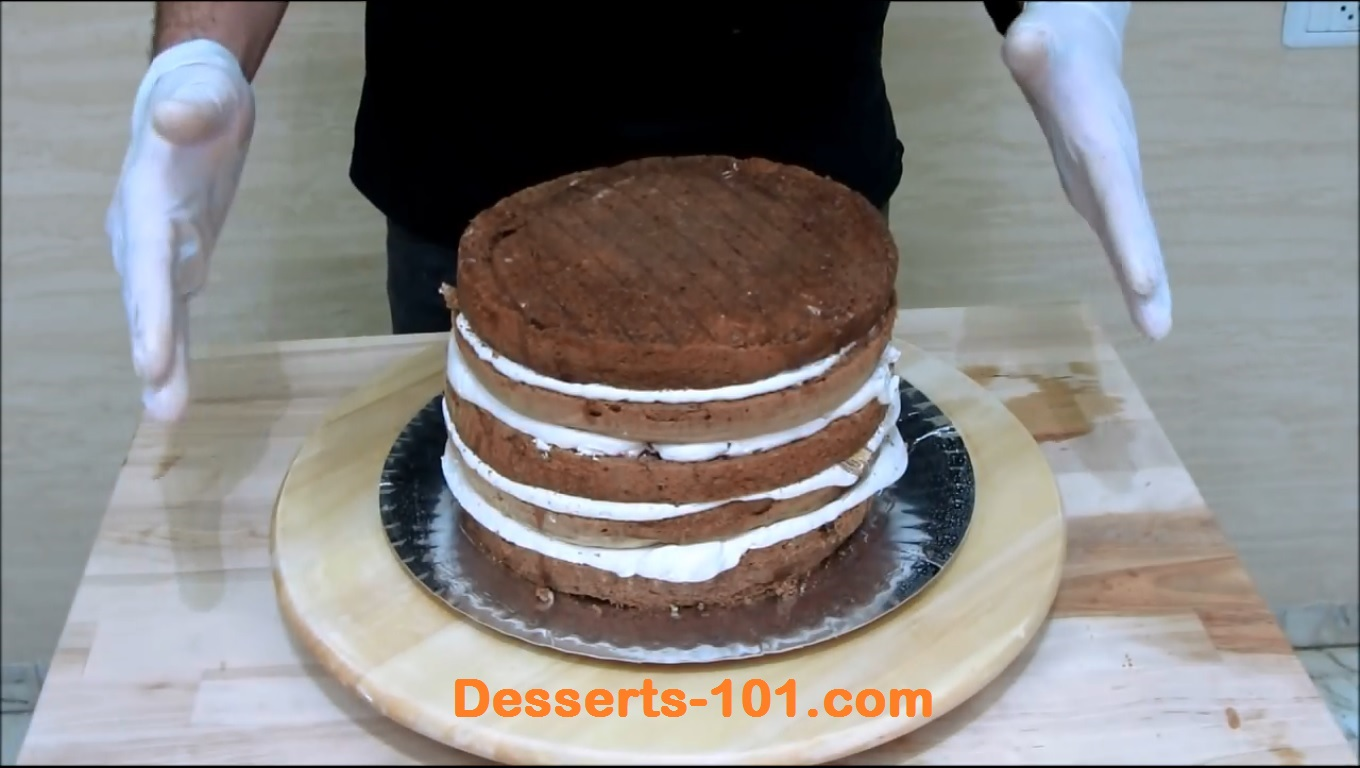 Cake stacked.