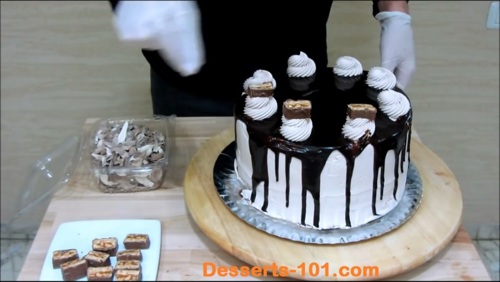 Adding snickers bar pieces to rosettes
